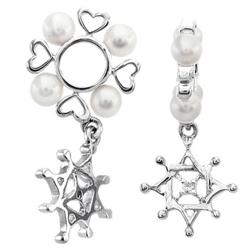 336816-Storywheels Diamond Star Dangle with Pearl Sterling Silver Wheel ONLY 3 AVAILABLE!