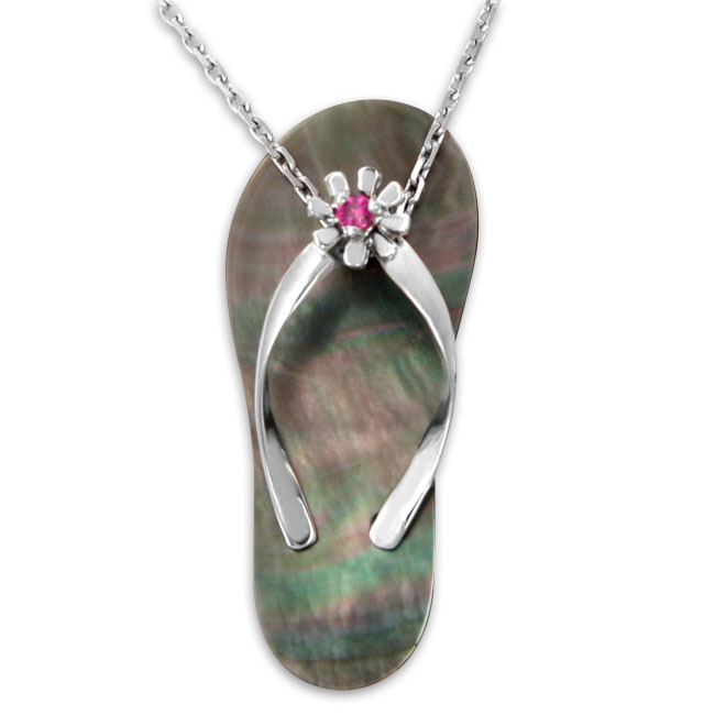 337362-Galatea Ruby with Black Mother of Pearl Flip Flop Pendant
