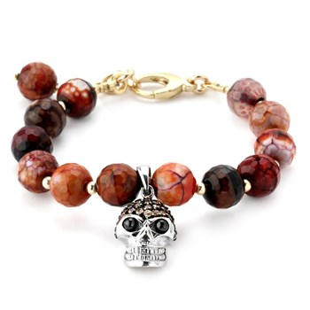 345081-Red Agate and Champagne CZ's Skull Lollie