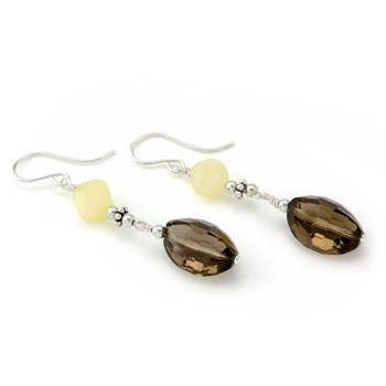 Smokey & Pineapple Quartz Earrings-210-838