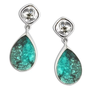 347419-Turquoise and Prasiolite Earrings