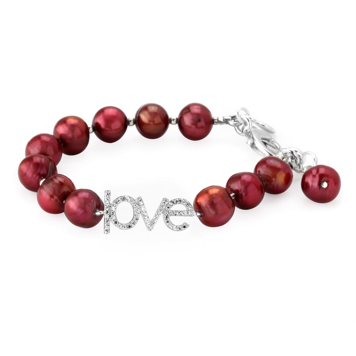 Lollies Red Freshwater Pearl Love Bracelet 345393