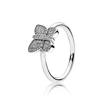 PANDORA Sparkling Butterfly with Clear CZ Ring