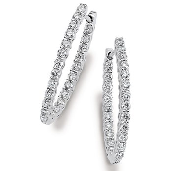 Diamond Hoop Earrings-334021