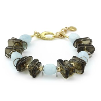 Aquamarine & Smokey Quartz Bracelet-240-3308