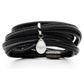 STORY by Kranz & Ziegler Triple Wrap Black Lambskin with Sterling Silver and Pearl Starter Bracelet RETIRED LIMITED QUANTITIES LEFT!