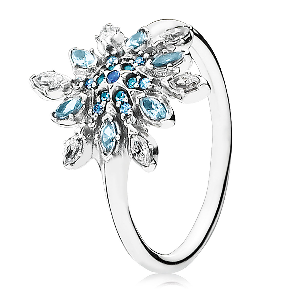 PANDORA Crystalized Snowflake with Blue Crystals & Clear CZ Ring