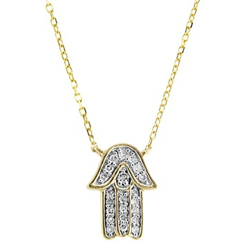 Hamsa Diamond Necklace-341571