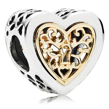 802-3089-PANDORA Locked Hearts with 14K Charm