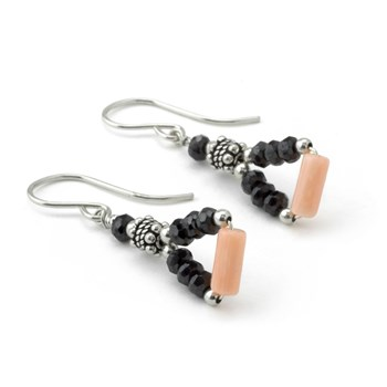 Triangle Coral & Black CZ Earrings-210-790