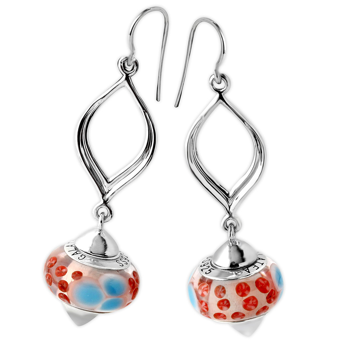 342112-Galatea Interchangeable Earrings with Red & Blue Beads