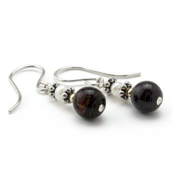 Black Coral & Pearl Earrings-210-786