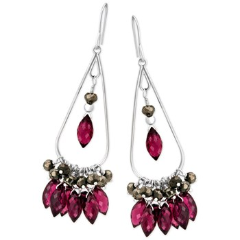 336015-Rhodolite Garnet & Pyrite Earrings
