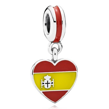 802-3020-PANDORA Spain Heart Flag with Enamel Dangle