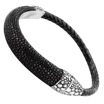 Sterling Silver Clasp with Black Stingray Leather Bracelet 337037