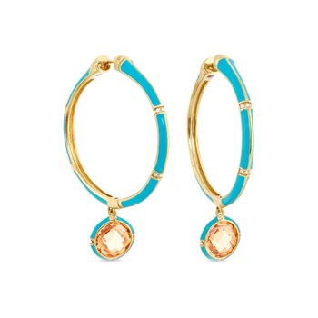 342498-Blue 'Prince Charming' Hoop Earrings
