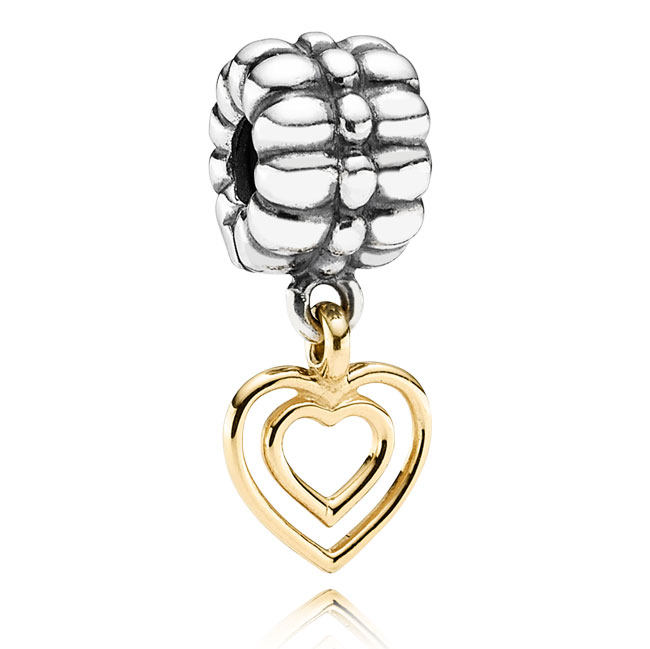 341616-PANDORA Heart of Hearts with 14K Dangle Clip RETIRED