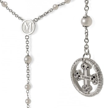 Our Father Pearl & Black Diamond Sterling Silver Rosary