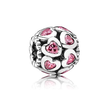PANDORA Love All Around with Fancy Pink CZ Openwork Charm-345482