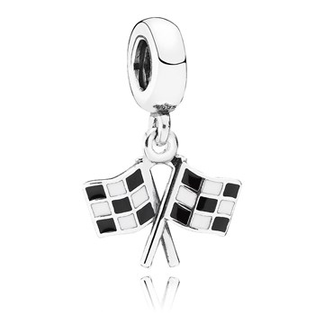 PANDORA Finish Line Racing with Black and White Enamel Dangle RETIRED LIMITED QUANTITIES! 802-2867