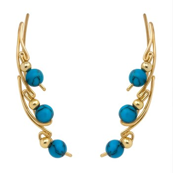 Turquoise Gold Ear Climber