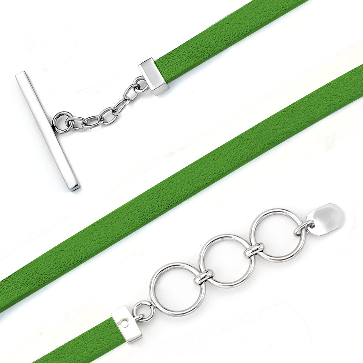 343209-Lori Bonn Go On Green! Leather Bracelet RETIRED ONLY 4 LEFT!