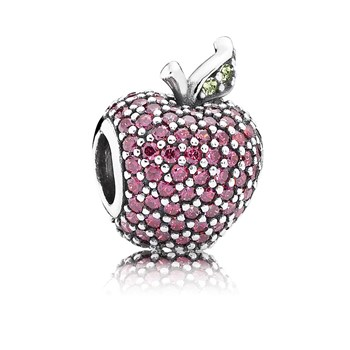 PANDORA Pavé Apple with Fancy Red CZ and Green Crystal Charm-802-2848
