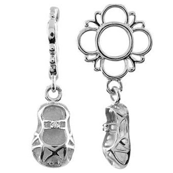 333769-Storywheels Baby Shoe Dangle Sterling Silver Wheel LIMITED QUANTITIES!