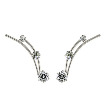 Silver CZ Small Ear Climber