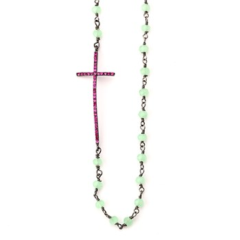 Cross Chalcedony Chain Necklace-347264