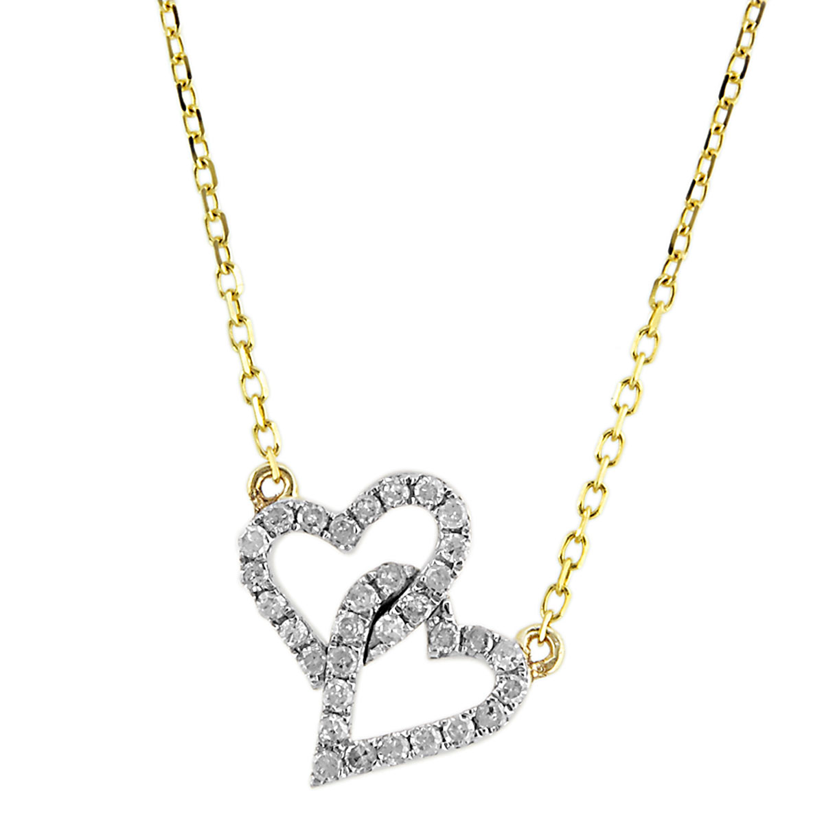 341572-Diamond Double Hearts Necklace