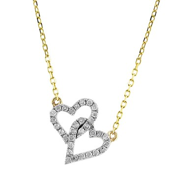 Diamond Double Hearts Necklace-341572