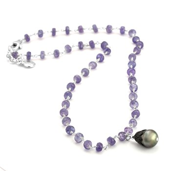 Black Pearl & Tanzanite Necklace-347612