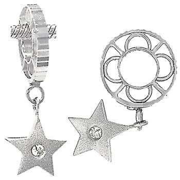 336845-Storywheels Diamond Sandblasted Star Dangle Sterling Silver Wheel ONLY 4 AVAILABLE!