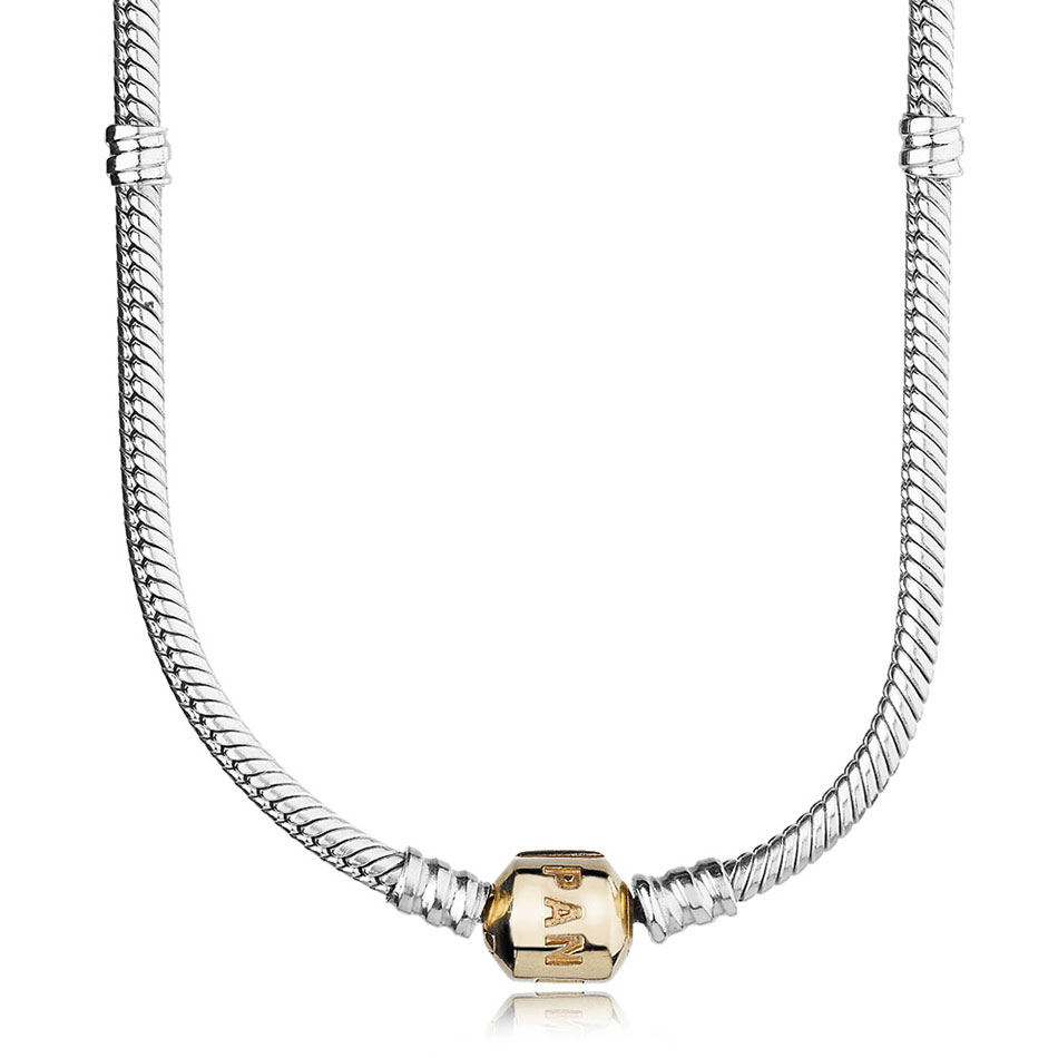 -PANDORA Sterling Silver with 14K PANDORA Clasp Necklace