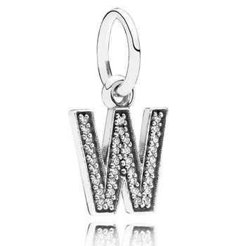PANDORA Letter W with Clear CZ Pendant-346457