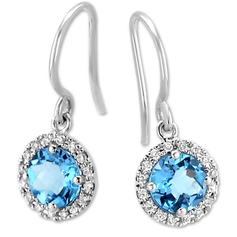 337628-Blue Topaz & Diamond Earrings
