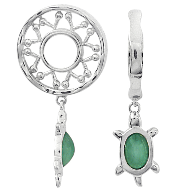 336853-Storywheels Emerald Turtle Dangle Sterling Silver Wheel ONLY 3 AVAILABLE!