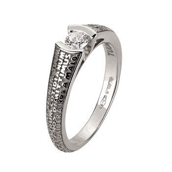Our Father White Gold 0,20 Ct Diamond Ring