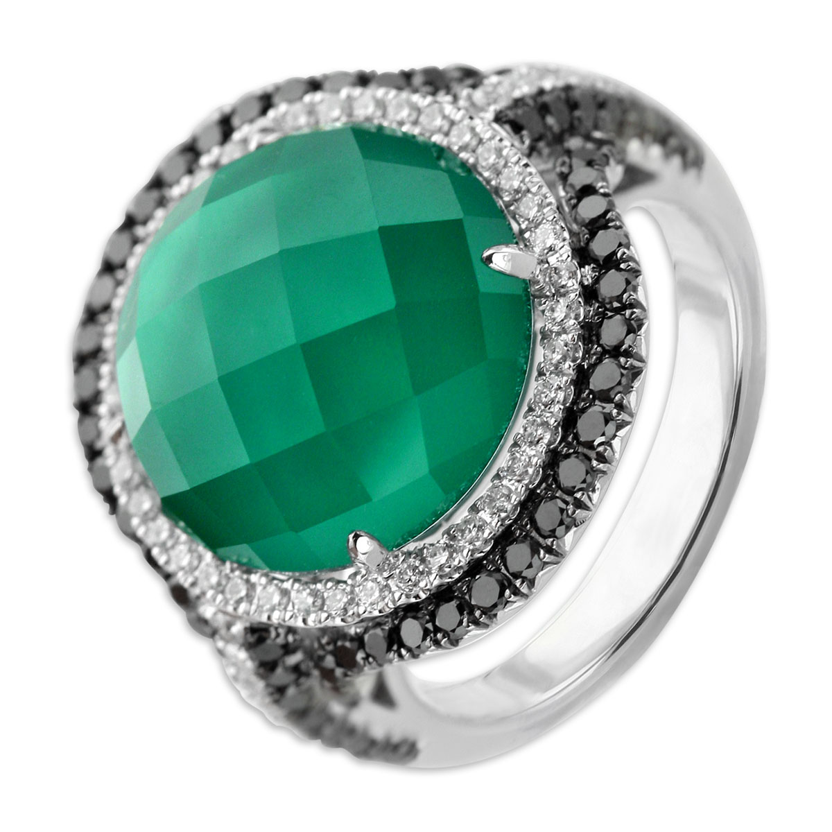 339575-White Topaz Over Green Agate & Diamond Ring
