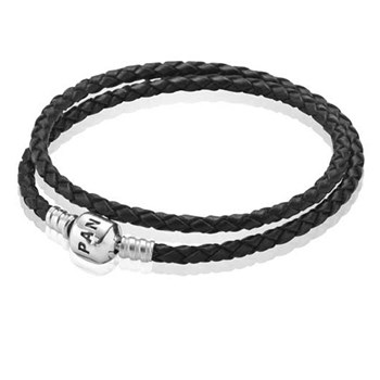 -PANDORA Black Double Braided Leather Bracelet