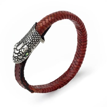 Tan Leather Snake Head Unisex Bracelet-130-136
