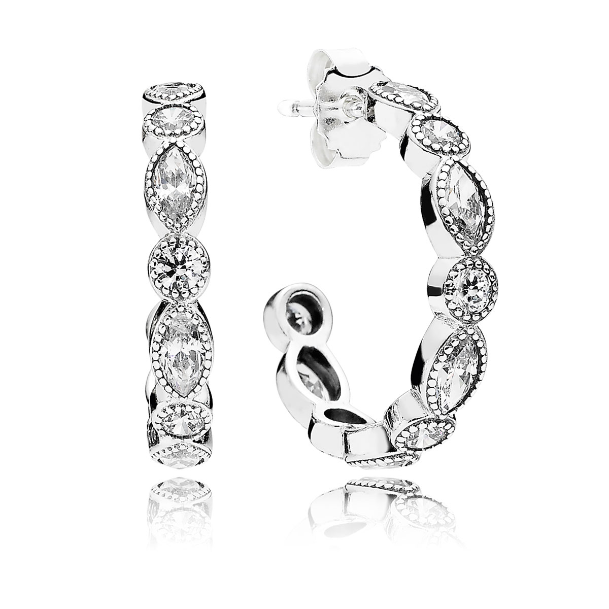 PANDORA Alluring Brilliant Marquise with Clear CZ Hoop Earrings