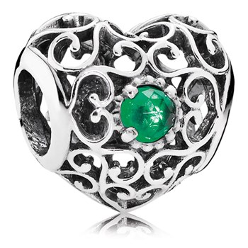 PANDORA May Signature Heart with Royal Green Crystal Charm-802-3111