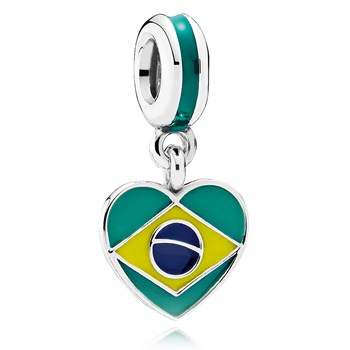 PANDORA Brazil Heart Flag with Enamel Dangle