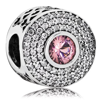 802-3098-PANDORA Radiant Splendor with Blush Pink Crystal and Clear CZ Charm