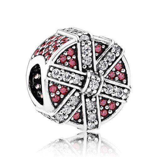 PANDORA Shimmering Gift Red & Clear CZ Charm