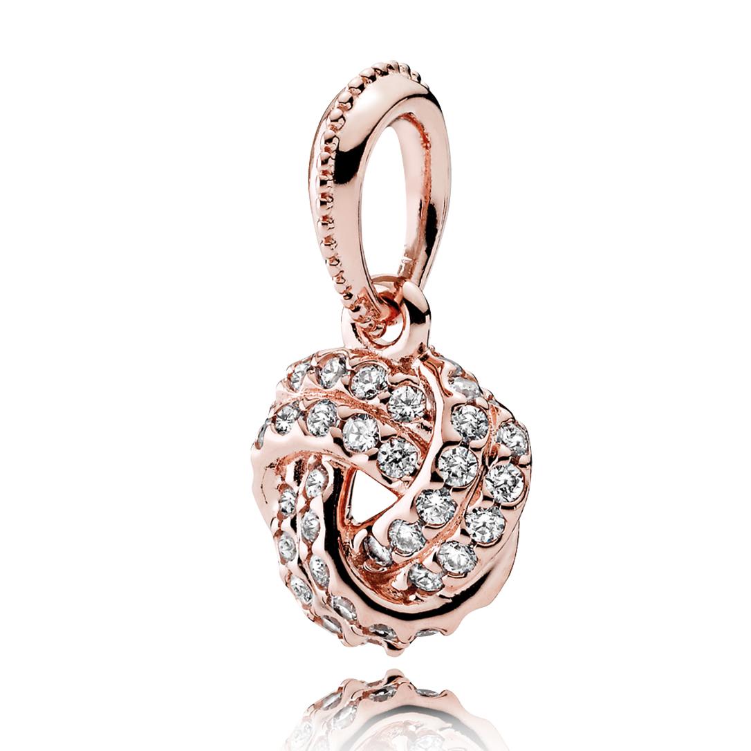 Pandora necklaces pancharmbracelets pandora rose sparkling love knot clear cz pendant aloadofball Images