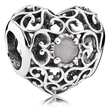 PANDORA June Signature Heart with Gray Moonstone Charm-802-3101