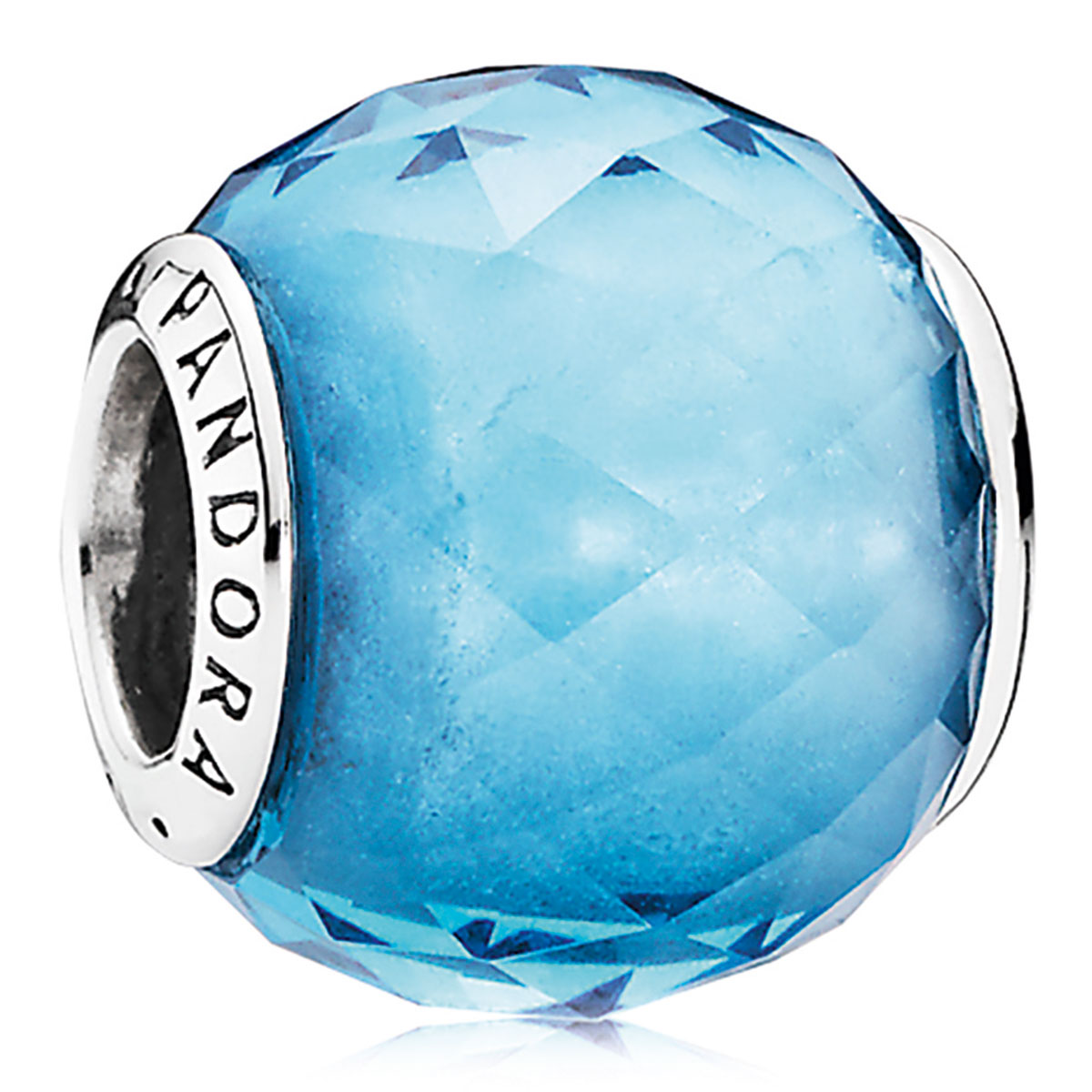 802-3121-PANDORA Geometric Facets with Sky-Blue Crystal Charm